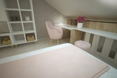 Pokój nastolatki na poddaszu, pomieszczenie 22 m2. Kolorystyka: beż, róż, biel i złoto.