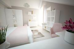 Mały pokój dla 14-latki w mieszkaniu w bloku. Wykorzystano część mebli z czasu przed remontem.