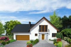Projekt elewacji budynku mieszkalnego -  wizualizacja w terenie.