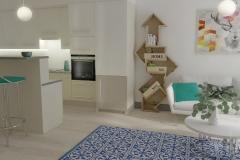 Salon z aneksem kuchennym.