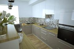 Kuchnia - aneks kuchenny lakierowany beż i biel.