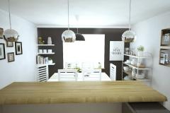 Kuchnia z jadalnią w domu jednorodzinnym.