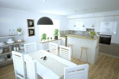 Jadalnia i kuchnie w domu jednorodzinnym.