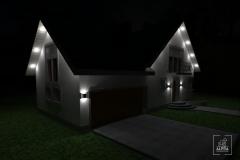 Wizualizacja do projektu oświetlenia elewacji budynku jednorodzinnego.