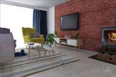 Ściana TV z kominkiem na tle cegły.