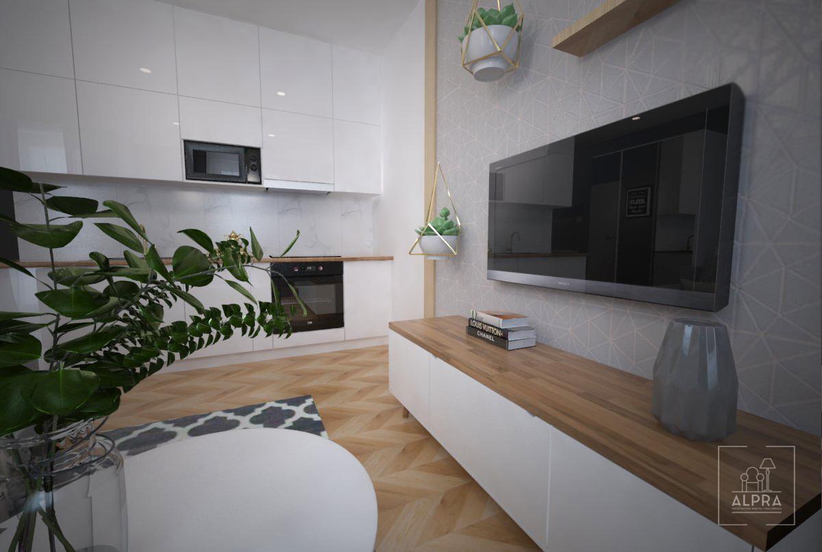 Tapeta na ścianie telewizyjnej ograniczona jest 2 lamelami z płyty meblowej.