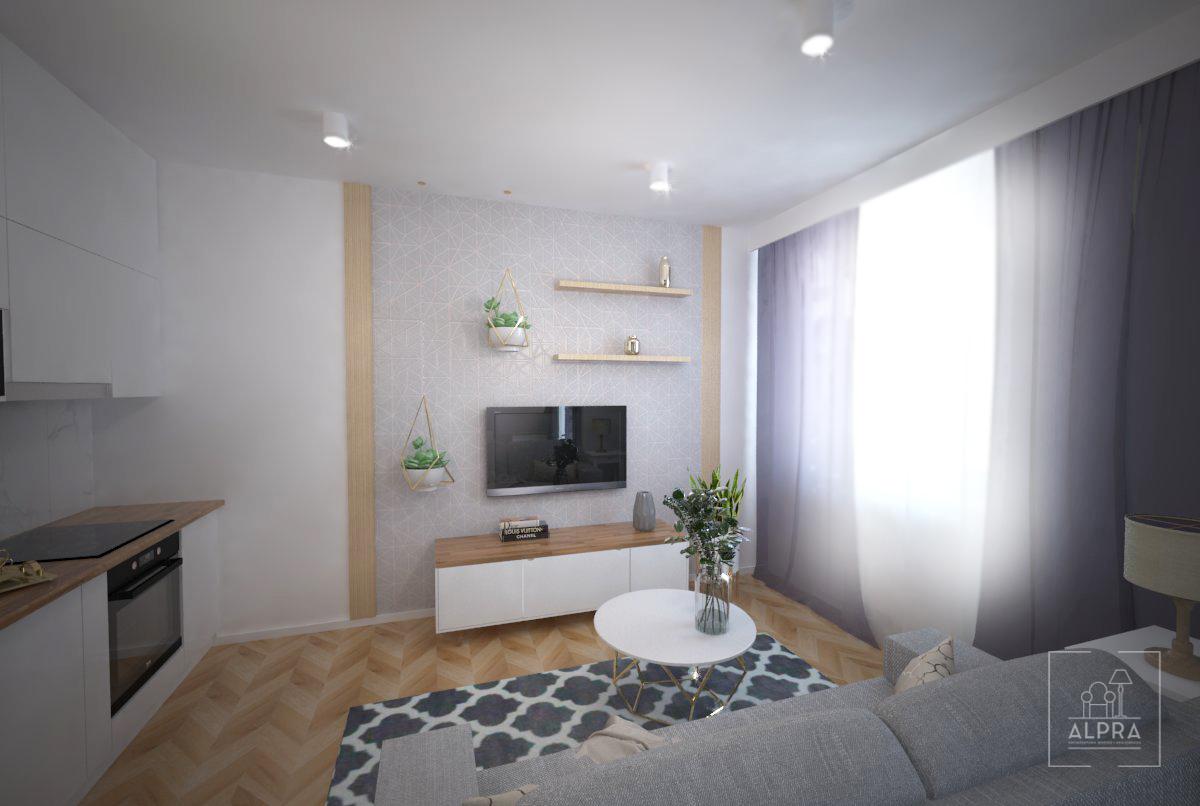 Ściana telewizyjna w mieszkaniu, dekoracyjnie podkreślona tapetą ze złotym wzorem i drewnianymi lamelami. Kawalerka ma tylko 28,5  m2 ale w pełni spełnia potrzeby młodego mieszkańca.