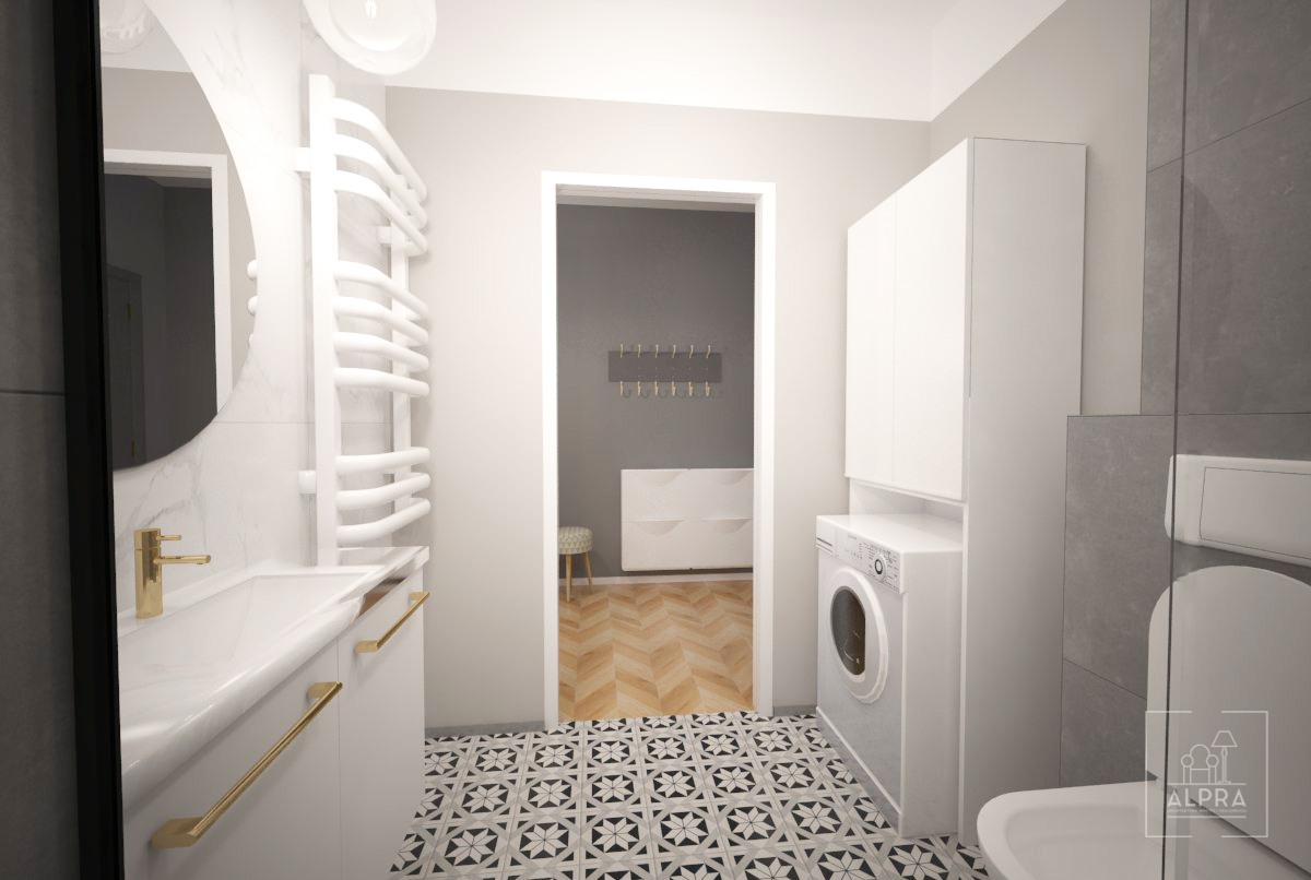 Łazienka w jasnej kolorystyce, nowoczesny styl, neutralne barwy w 29 metrowej kawalerce. Pomieszczenie ma 5,6 m2.